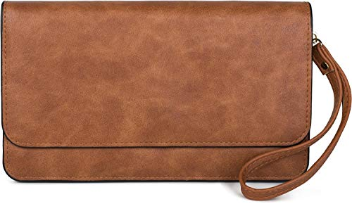 styleBREAKER Damen Clutch mit Überschlag und Trageschlaufe, Abendtasche, Portemonnaie 02012259, Farbe:Cognac