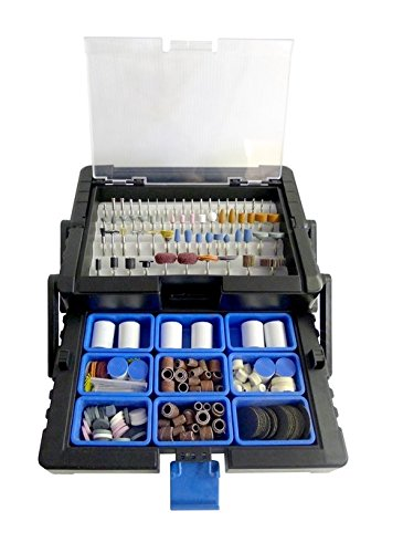 500pc Rotary Tool Accessory Kit in Cantilever Organizer Case Set By LINE10 Tools
