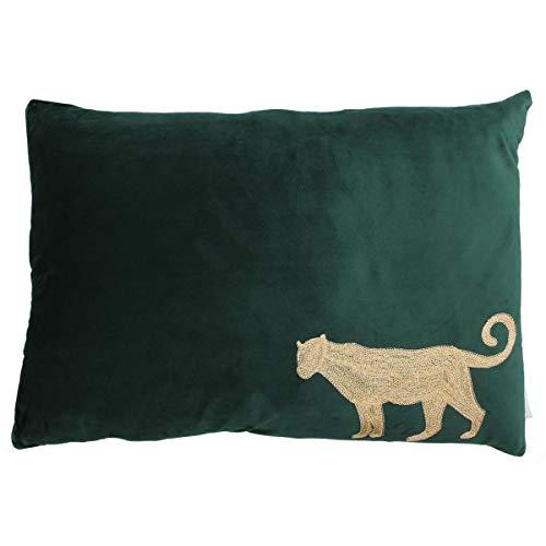 Engelnburg hoogwaardig sierkussen sofakussen kussen luipaard fluweel groen 40x60cm