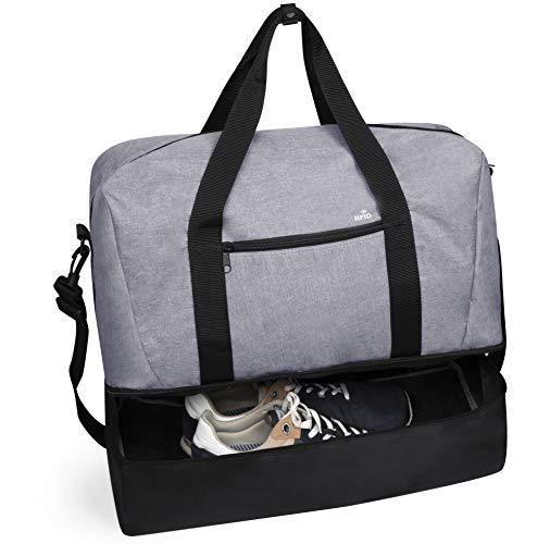 MKTOSASA - Bolsa Multiusos Deporte, Viaje, Gimnasio en Resistente poliéster 600D. Incluye Bolsillo con tecnología de Seguridad RFID y Compartimento Independiente para Calzado - 50x38x24 Gris/Negro