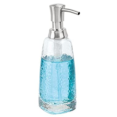 mDesign Liquid Hand Soap Glass Dispenser Pump Bottle for Kitchen, Bathroom | Also Can be Used for Hand Lotion & Essential Oils - Clear/Brushed Stainless Steel