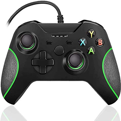xuelili Controle com fio para Xbox one, controle do Xbox One com fio com vibração dupla e design avançado, gamepad USB com porta de fone de ouvido de 3,5 mm para Xbox One/PC Windows 7/8/10,Preto