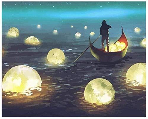 BNML Rompecabezas de 1000 Piezas Juegos para Adultos Niño en el Barco pescando para la Luna Rompecabezas El Rompecabezas de Madera Juegos educativos Juegos de Rompecabezas para la Familia