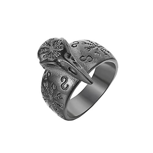 OMKMNOE Anillo de calavera de cuervo, el casco de Awe Símbolo de acero inoxidable, diseño nórdico escandinavo, para hombres y mujeres, 12
