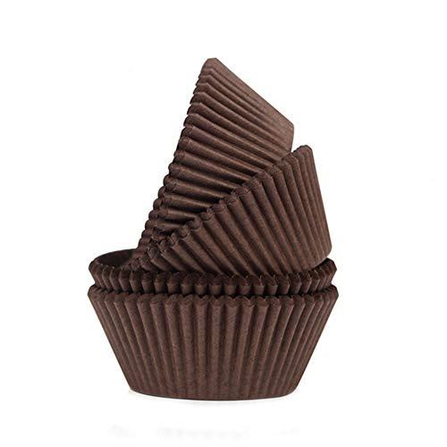 Lumanuby Reine Farbe Muffin-Tasse Set von 95-100 Stück Paiper Backförmchen für Cupcake oder Muffin Einweg Ölbeständig Papier Material, Oberer Durchmesser 6.8 cm (Braun)