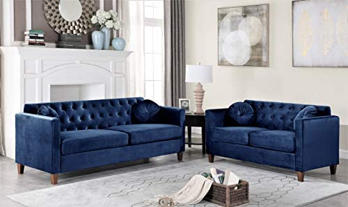 Container Furniture Direct Persaud Velvet Upholstered Classic Chesterfield Living Room, Sofa & Loveseat, Ultra Blue