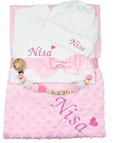 Baby Erstlingsset Geschenkset Geburt Junge Mädchen blau rosa (rosa)