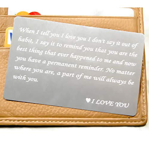 RXBC2011 wallet engraved card for boyfriend husband dad wife son gifts card Handmade Fathers Day Deployment funny gifts(Silver)