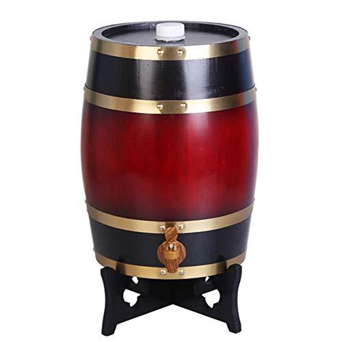 FMLFS Dispensador de Vino Barril Madera Tonel de Madera Barril de Whisky 10L, Barril de Vino Personalizado de Roble Decoración del Hogar Barril de Vino de Boda (Color : Deep Red, Size : 10L)