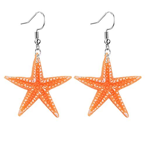 coadipress Acrylic Starfish Earrings for Women Girls Unique Funny Blue Orange Seo Animal Resin Geometric Statement Earrings (Orange Starfish)
