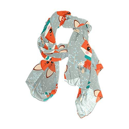 Rootti - Bufanda para mujer, diseño de zorro, de gasa, elegante, suave, de poliéster transparente, de gran tamaño, para niñas y mujeres