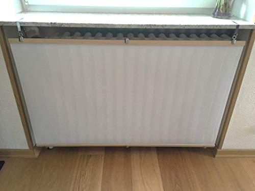 Heizkörperverkleidung in Weiß aus Eichenholz und wärmedurchlässigem Material, für Heizkörper unter Fensterbänken (Nische) oder Ablagen. Bereits ZUSAMMENGEBAUT/MONTIERT