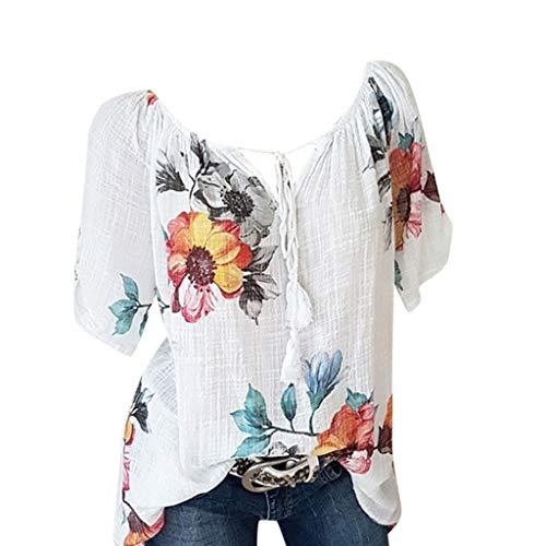 Momoxi Damen Sommer Casual Blumendruck Bluse Kurzarm Loose Top Shirt Tee Chiffon Bluse Blouse Print Oberteil Lady-fit Tank Tops Weiß XL
