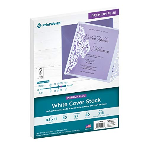 PrintWorks White Cover Stock, Premium Plus, 80 lb. Cover, 50 Sheets, 97 Bright, 8.5 x 11, For Cards, Photo & Frame Mats, Cutting, and Craft Projects (00565)