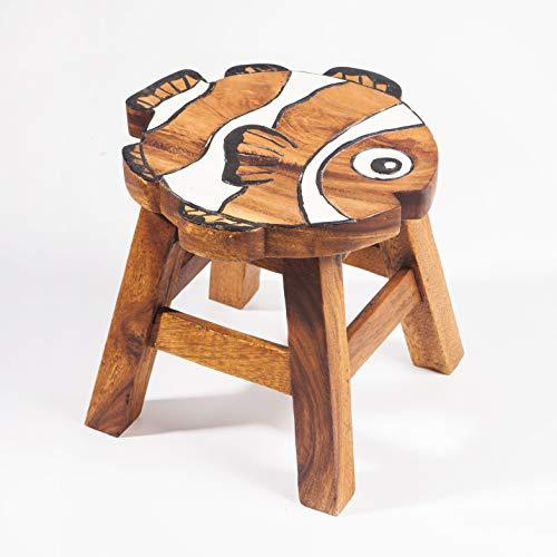 Kinderhocker, Schemel, Kinderstuhl massiv aus Holz mit Tiermotiv Clownfisch, 25 cm Sitzhöhe für unsere Kindersitzgruppe