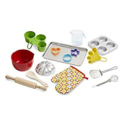 TIME TO BAKE!: What will children pretend to bake up with this 20-piece set? Anything they can think of! CREATIVITY IN THE KITCHEN: This 20-piece set includes oven mitt, measuring spoons and cups, whisk, spatula, mixing bowl, muffin tin, cookie cutte...