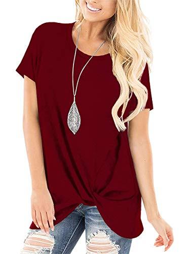 Women T Shirts Short Sleeve Round Neck Summer Fashion Tops Tunics Burgundy S