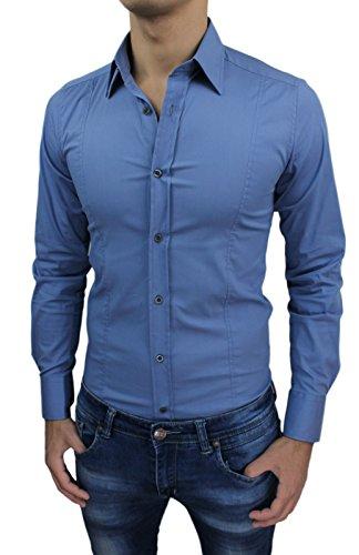AK collezioni Camicia Uomo Cotone Blu Lavagna Slim Fit Aderente Casual Elegante (L)
