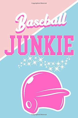 Baseball Junkie: Pink and Blue Small Blank Lined Notebook, Baseball Gift For Women Player and Coach, 6