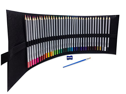 OOKU Artist Pro Watercolor Pencils Set 48 Colors / 51 Pc Full Kit | Wet Water Color Pencils Set / Dry Coloring Pencils Set for Adults, Kids | w/BONUS Wool Pencil Wrap, Watercolor Brush, Sharpener