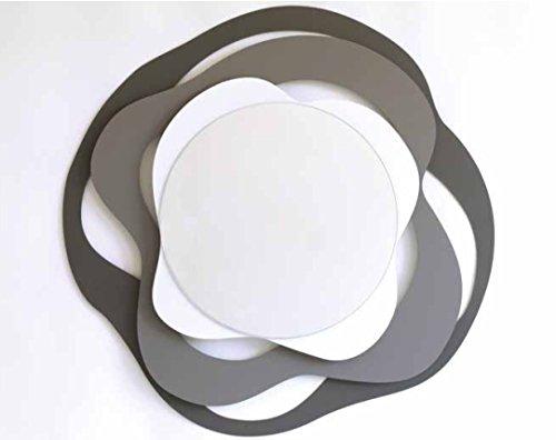 Miroir Mural Design Moderne Original Arts et métiers Isotta métal Couleur Anthracite/Ardoise/Blanc