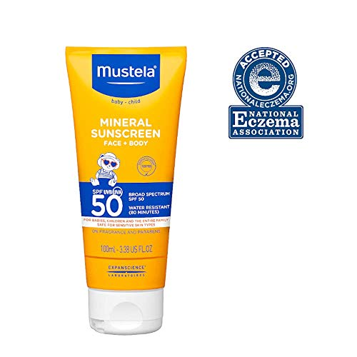 Mustela Baby Mineral Sunscreen - Broad Spectrum SPF 50 - Sun Lotion For Sensitive Skin - Water Resistant - Fragrance Free & Paraben Free - 3.38 fl. oz.