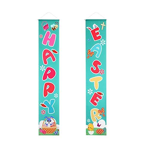 Bongba Letrero colgante para puerta de Pascua, para el día de Pascua, con texto en inglés 'Happy Easter Banders'