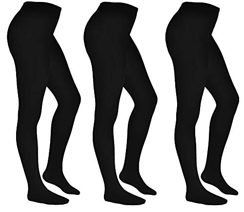 Aurellie SCHOOL Girls Opaque Tights Plain 100 denier 11-16 Years packs of 3 Black