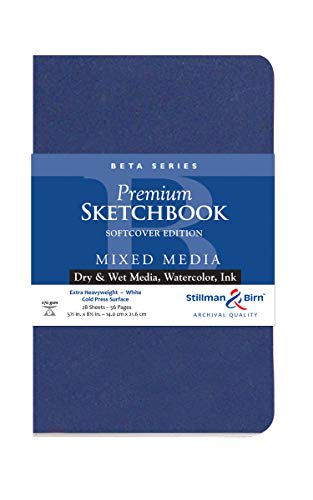Stillman & Birn Beta Series Softcover Sketchbook, 5.5' x 8.5', 270 gsm (Extra Heavyweight), White Paper, Cold Press Surface