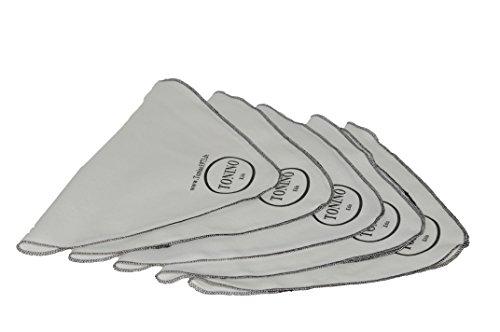Tonino 5 Stück Poliertuch/Reinigungstuch für Leder in weiss mit schwarzer Kettung