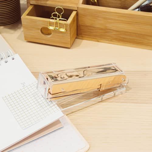 Gold Stapler for Desk - Cute Stapler for Office - Clear Acrylic Stapler - Desktop Designer Stapler - Elegant Desk Accessory, Trendy Novalty Stapler - Pretty Office Space - Lucite, Large Office Stapler Photo #2
