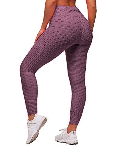 ORANDESIGNE Legging Femme Pantalon de Sport Yoga Fitness Gym Pilates Taille Haute Pâte de Haricots S