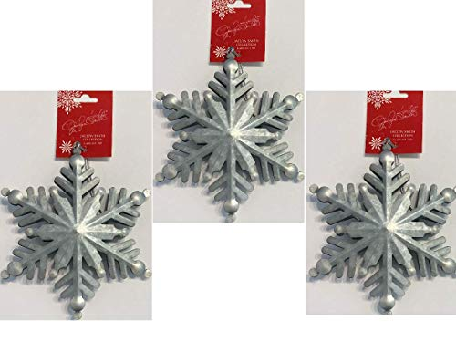 Galvanized 3 Dimensional Snowflake Christmas Ornament Set - Silver, Set of 3 | Tin Metal Cut Large Dimensional Snowflake Christmas Ornaments | Indoor Seasonal Decorations or Holiday Gift Giving