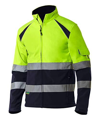 MONZA OBREROL Chaqueta De Trabajo Reflectante Softshell Alta Visibilidad Color Azul Marino de Hombre Profesional. Talla L. Ref: 4756