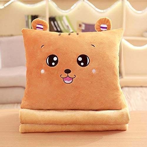 Cartoon anime plus velvet blanket sofa pillow quilt dual purpose square pillow@Brown tiger (square)_Three in one (with large blanket 1 * 1.7 meters)