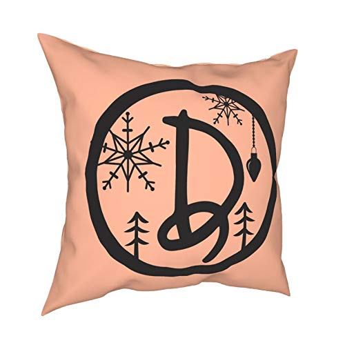 Christmas Monogram Alphabet DecorativeSlipSilkCushion Cover withHidden Zipper, Both Sides Anti-Allergy Pillow Covers Standard for Sofa ChairBed Car 18'x18' Inch