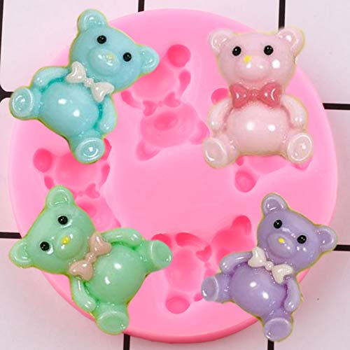 ZZYOU 3D Teddy Bear Silicone Mold DIY Party Chocolate Candy Clay Mold Birthday Cake Flip Fudge Cake Decoration Tool