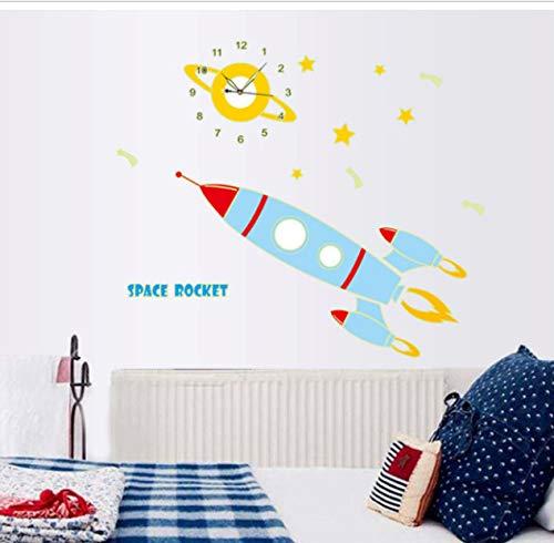 hfwh Pegatinas De Pared, Al por Mayor Espacio Luminoso Cohete Reloj Pared Pegatinas Pared Reloj Mural Pared Calcomanía De Arte para La Sala De Estar Niños Niña Habitación 30x90cm