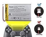 ElecGear 1x Batería de Repuesto para Controlador PS4 V1-3, Batería Recargable de 1500mAh para Playstation 4 Mando DualShock 4 CUH-ZCT1 LIP1522 con Enchufe Grande, Kit de Herramientas de Reparación
