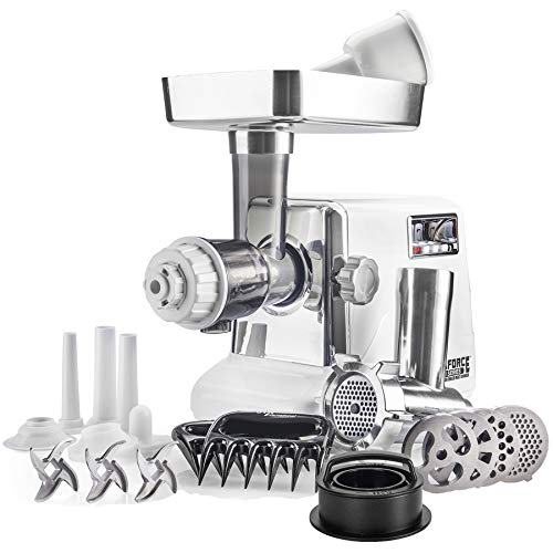 STX Turboforce • Classic 3000 Series • Electric Meat Grinder with Juicer Attachment & Sausage Stuffer • 4 Grinding Plates, 3 S/S Blades, 3 Sausage Tubes, Kubbe Maker, 2 Meat Claws & 1 Burger Press!
