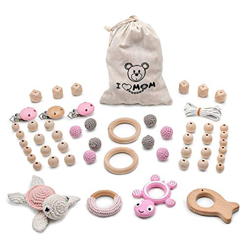 RUBY - Kit Tortuga con Collar Lactancia para Bebé de Silicona y Madera. Set Piezas Chupeteros, Kit Cesta de Regalo para recién nacido (Rosa)