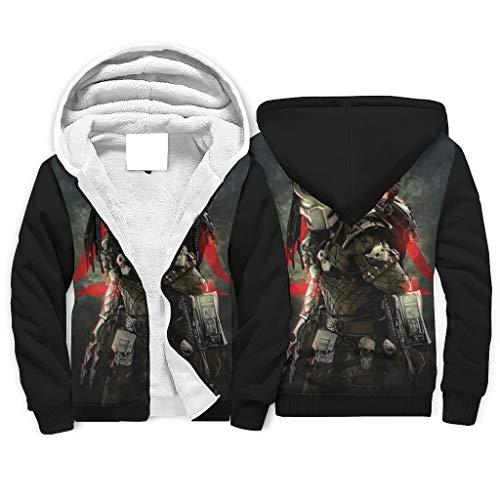 Predator War - Sudadera con capucha para hombre, transpirable, resistente al viento, con cremallera, bolsillos laterales para trabajo, color blanco