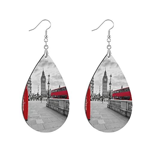 Pendientes de madera de moda gota colgantes ligeros lágrima pendientes forma gota pendiente para las mujeres joyas murales de pared Londres rojo teléfono cabina y gran Ben reloj torre