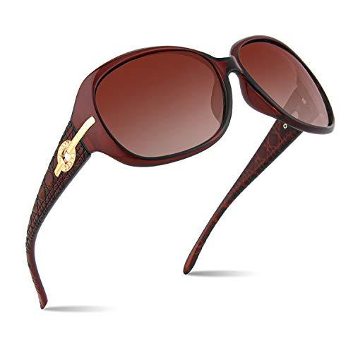 CGID Gafas de sol clásicas polarizadas para mujer con marco grande Lentes de sol extragrandes para mujer, Gafas de sol con protección UV y Marco marrón, Lente marrón M84