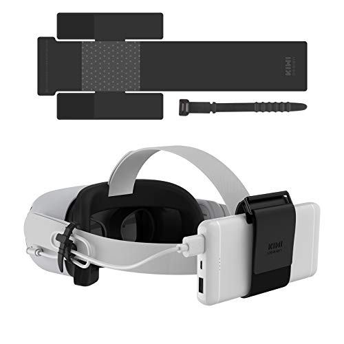 KIWI design VR Power Bank Fixing Strap for Oculus Quest/Quest 2 / HTC Vive Deluxe Audio Strap Accessories Compatibly Multiple Sizes Mobile Power Fixed on The VR Headset Strap (Not for Elite Strap)