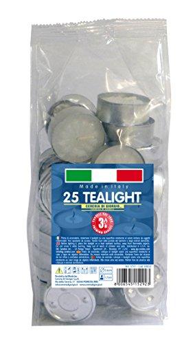 Cereria di Giorgio Risthò Tealight con Cup, Cera, Bianco, 3.6x3.6x1.7 cm, 25 unità
