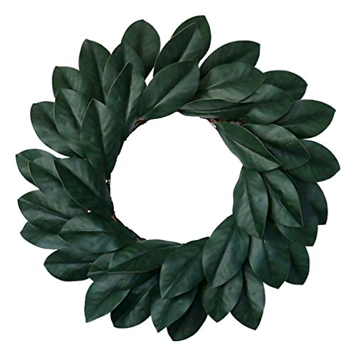 ABOOFAN Magnolia Leaf Wreath Artificial Green Leaves Wreath Garland Front Door Wall Window Hanging Decoration for Home Office Wedding Party Decor