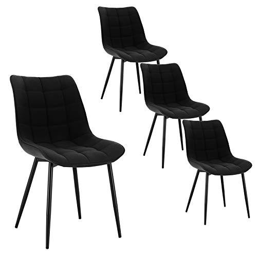 WOLTU 4 x Esszimmerstühle 4er Set Esszimmerstuhl Küchenstuhl Polsterstuhl Design Stuhl mit Rückenlehne, mit Sitzfläche aus Leinen, Gestell aus Metall, Schwarz, BH206sz-4