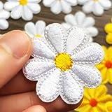 Aufnäher/Aufbügler R072, Gänseblümchen, 40 x 40 mm, Weiß, 8 Stück