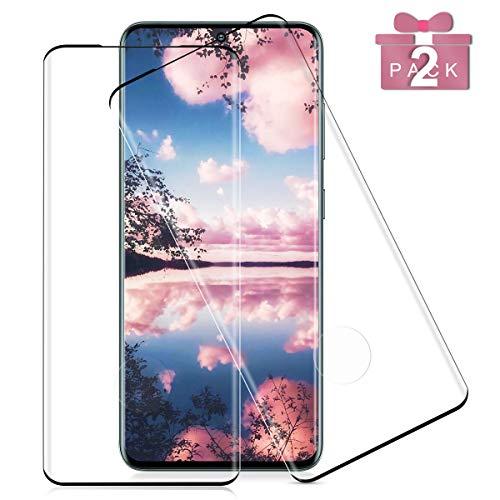 NONZERS 2 Stück Panzerglas für Samsung Galaxy S20 Schutzfolie, [9H Härte] [Fingerabdruck-ID unterstützen] Gehärtetem Glas 3D Vollständige Abdeckung Displayschutzfolie,Galaxy S20 Panzerglasfolie